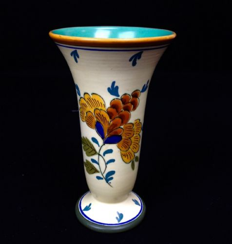 Gouda Pottery Vase Art Deco Dutch Design Cream Blue Yellow